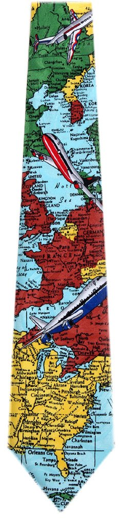 MAP-300 - Mens Airplanes and Maps Ties Neckties for Travel