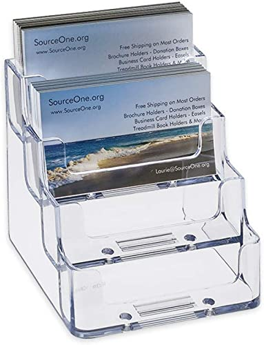 SOURCEONE.ORG Source One 4 Pocket Clear Black Acrylic Business Card Holder