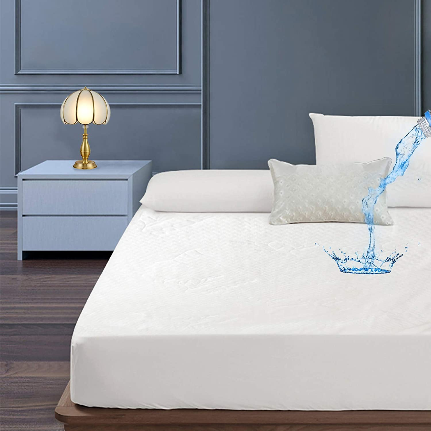 YingTai Premium Bamboo Queen Mattress Protector,Waterproof Encasement Soft and Breathable Mattress Cover Fits 8