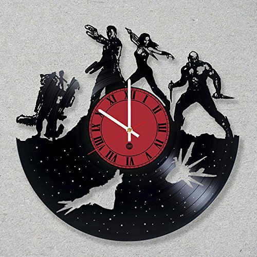 [Contemporary Vinyl Record Wall Clock comics movie Guardians Galaxy modern vinyl record wall clock home room kitchen decor unique gift ideas for him her boys girls] (Thanos Movie Costume)
