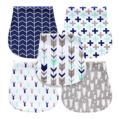 5-Pack Baby Burp Cloths for Boys, Triple Layer, 100% Organic Cotton, Soft...
