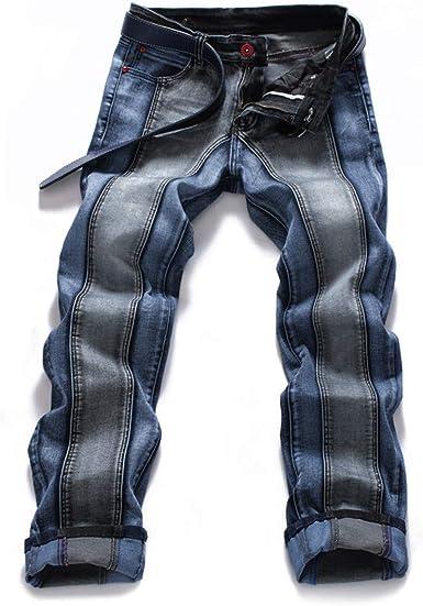 CAMOKUYR Pantalón Vaquero Azul Remiendo de los Pantalones ...