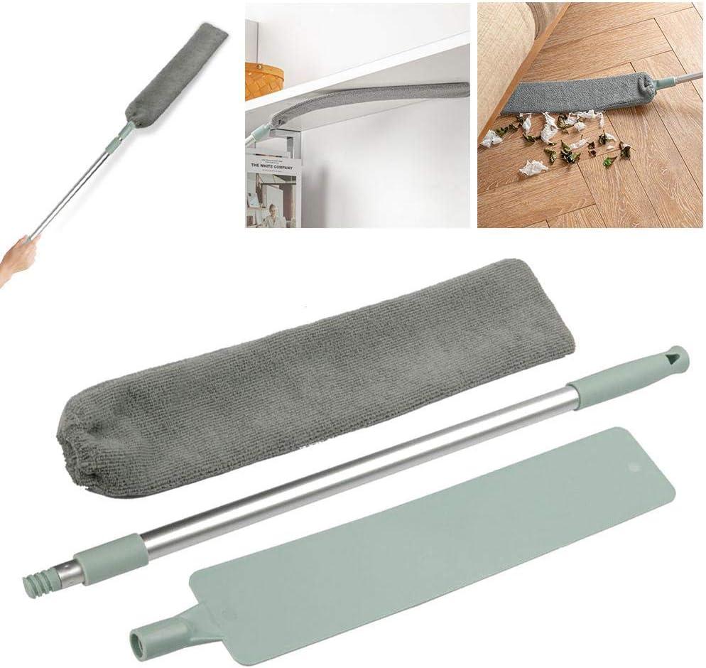 Dumcuw Cepillo de limpieza de polvo, varilla telescópica ajustable, para limpieza de polvo, mojado y seco, Herramientas de limpieza del hogar debajo de la cama y el sofá.