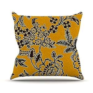 "Kess InHouse Vikki Salmela ""Golden Blossom"" Gold Black Outdoor Throw Pillow, 18 by 18-Inch"