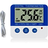 Gellvann Digital Freezer/Fridge Thermometer with Magnet and Stander Digital Freezer Thermometer with LED Alarm Indicator Max/Min Memory Freezer Thermometer for Home Kitchen Restaurants Bars Cafes