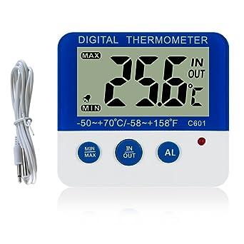 Digital congelador/refrigerador termómetro con imán y Stander Gellman Digital congelador termómetro con LED Indicador