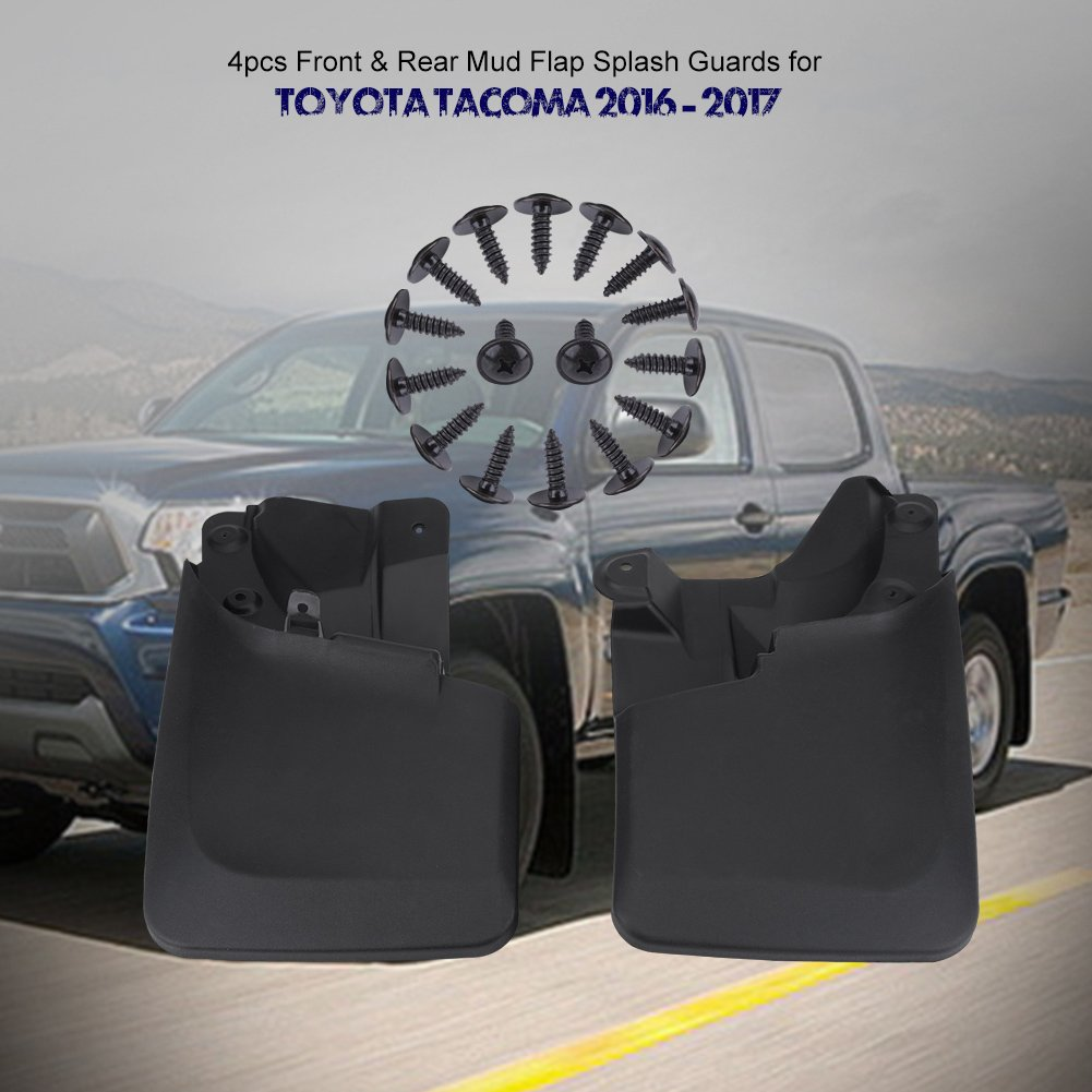 Qiilu 4pcs ABS Front /& Rear Mud Flap Splash Guards with aggressive style for Toyota Tacoma 2016-2017