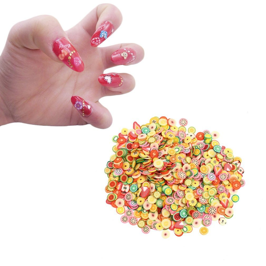 1000Pcs DIY Fruit Fimo Polymer Clay Slices Nail Art Sticker Tip Decorations hou zhi liang