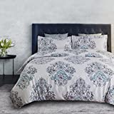 Bedsure 3pc Zipper Closure Queen Duvet Cover Set, White Gray Damask Deal (Small Image)