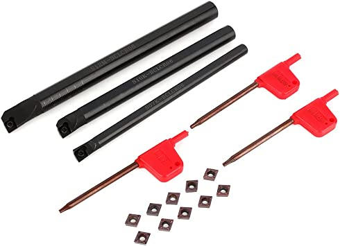 10 Pcs CCMT0602 Insert 3 Pcs Wrench SCLCR Lathe Boring Internal Turning Bar Holder