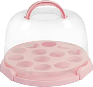 KEILEOHO 6-8 Inches CakeCarrierwithHandle, Large Capacity Durable Cake and Cupcake Carrier with Folding Handles Lid, Pink CakeTransporterContainers for Transporting Storing Cake cupcake Dessert