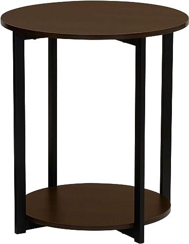 Household Essentials Round Side End Table with Storage Shelf 20.3 D x 24 H Dark Walnut, Brown