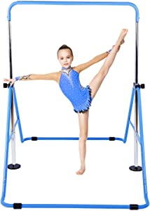 KidoGym Gymnastic Bars for Kids with Adjustable Height, Folding Gymnastic Training Kip Bar for Home, Junior Expandable Horizontal Monkey Bar …