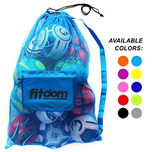 Extra Large Heavy Duty Soccer Ball Mesh Bag for Sports, Beach and Swimming Gears. Adjustable Shoulder Strap Made to Fit Adults and Kids. Secure Side Pocket for your Personal Item. 40x30 IN, Blue Oversize Tennis Bag