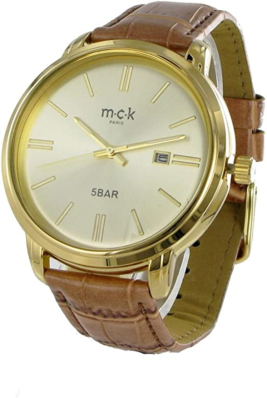 montre double bracelet cuir camel mck paris