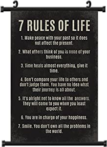 Purple Verbena Art 7 Rules of Life Poster, Decor for Classroom Office Home, Motivational Fabric Wall Scroll Posters, 16x24 Inch