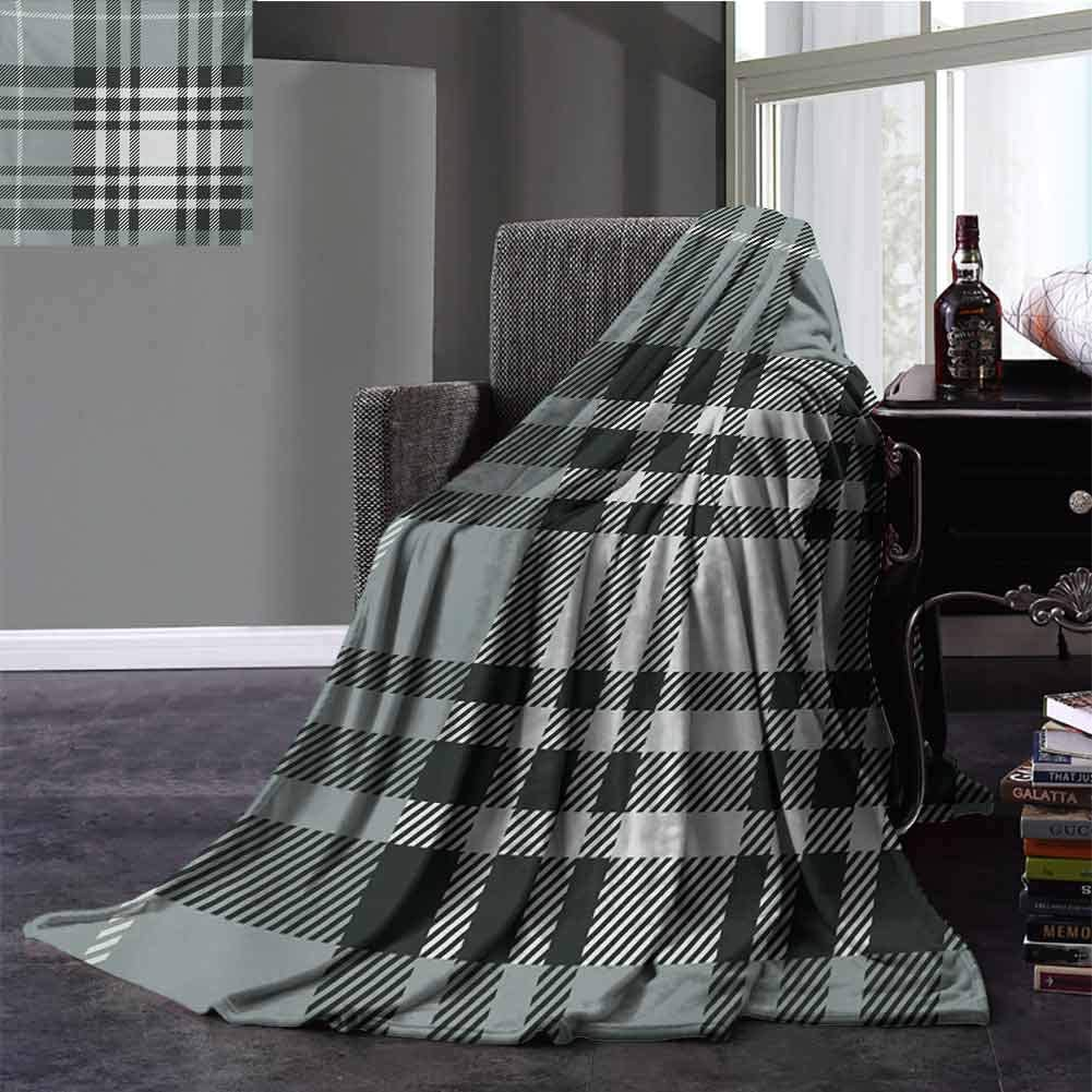 Checkered Microfiber Blanket Old Fashioned Plaid Tartan in Dark Colors Classic English Tile Symmetrical Baby Small Fleece Blanket Full Size Grey Black White 70x90 Inch
