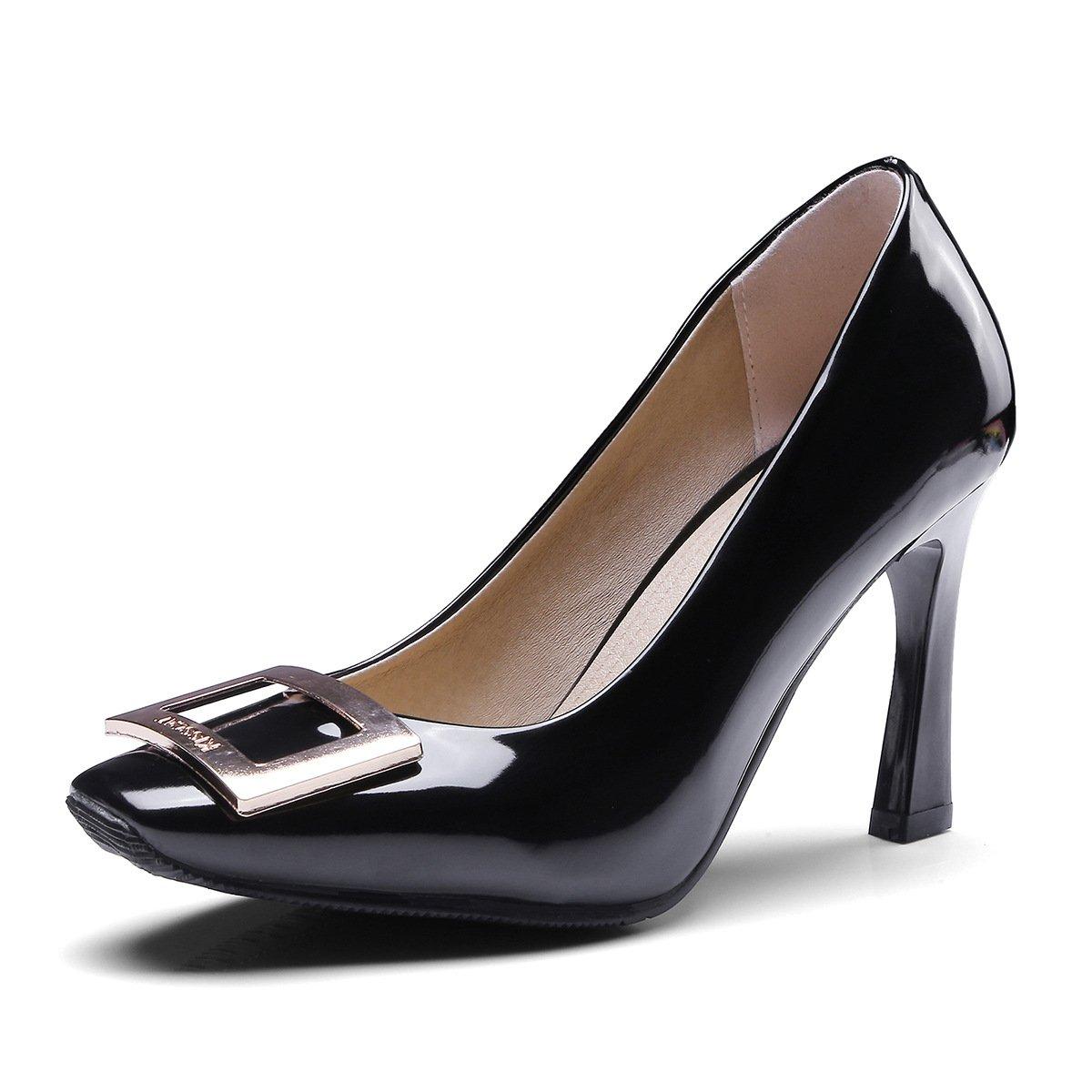 Dick mit high-heeled Licht - Square bridal Licht Schuhe - einzelne Schuhe Frauen Schuhe Licht schwarz d6d7eb