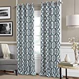 Cheap Celeste Modern Lattice Ironwork Print Blackout Room Darkening and Thermal Insulating Window Curtain / Single Lined Panel, 52 Inch Wide X 84 Inch Long, Blue