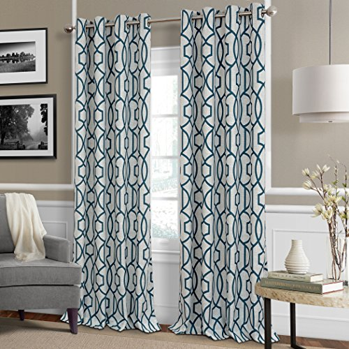 Celeste Modern Lattice Ironwork Print Blackout Room Darkening and Thermal Insulating Window Curtain / Single Lined Panel, 52 Inch Wide X 84 Inch Long, Blue