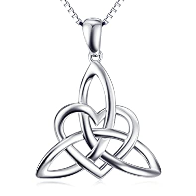 Amazon sterling silver irish celtic knot triangle lover heart sterling silver irish celtic knot triangle lover heart shaped pendant necklace 18quot aloadofball