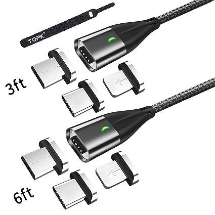 Amazon.com: TOPK cable magnético USB, micro USB y tipo C 3 ...