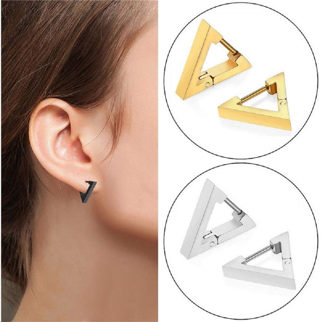 KISSFRIDAY Punk Rock Stainless Steel Triangle Hoop Ear Studs Earrings Jewelry Gift