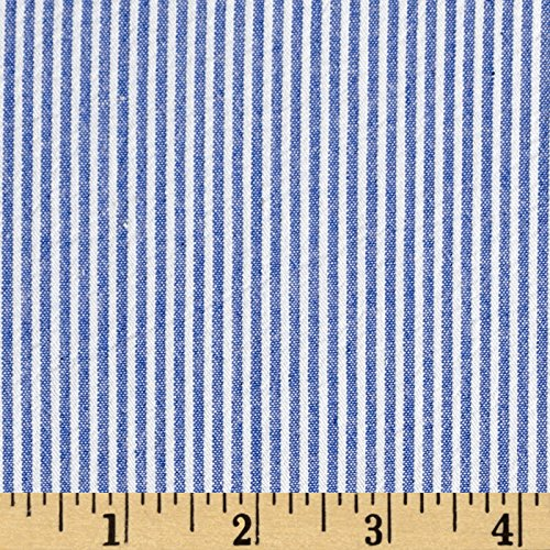 (Richland Textiles Cotton Seersucker Stripe Royal/White Fabric by The Yard, Royal/White)