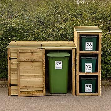 Signs & Numbers Almacenamiento para 2 Cubos de Basura y 3 Cubos de Reciclaje con 5