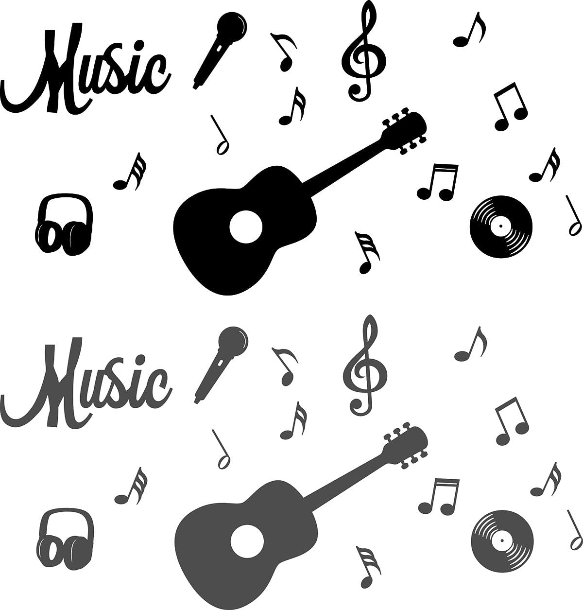 ig4509 Details about  /Vinyl Wall Decal Acoustic Guitar Notes Musical Instrument Stickers
