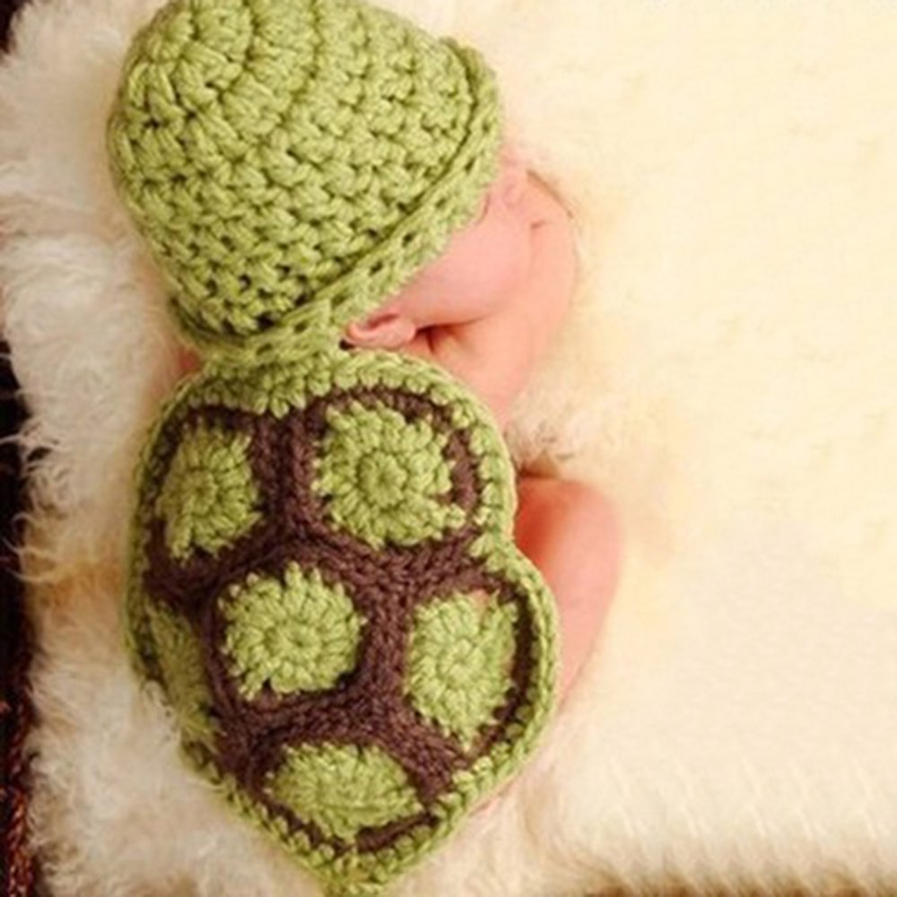 9a9f2dcb7 KAKA(TM) Lovely Newborn Crochet Knitted Baby Costume Baby Photo Photography  Prop Clothes-Green Tortoise Costume