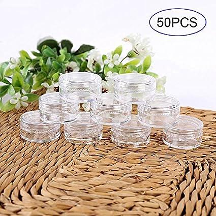 lzndeal 50 PCs Set 3/5 g Pots cosmétiques vides transparents flacons échantillon cosmétique pour paillettes/nail art/crème