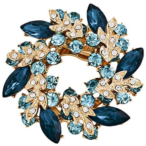 Bai You Mei Womens Vintage Brooches and Pins Fashion Fancy Circle Flower Design Crystal Rhinestone Brooch Lake Blue (Pin Vintage Circle)