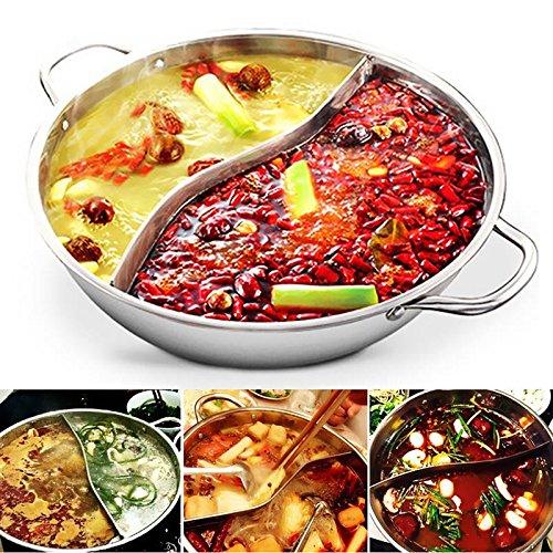 TOOGOO 28 cm pentola calda doppia divisa in acciaio inox 28 cm pentole pentola governato compatibile zuppa zuppa pentole casa cucina