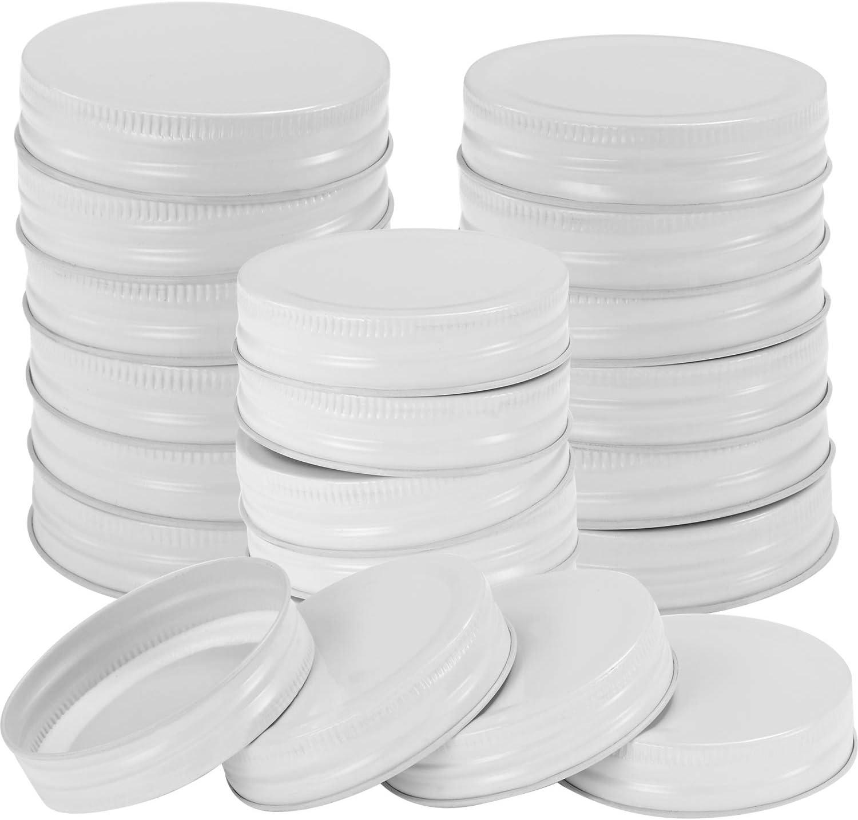 Chuangdi 30 Packs Mason Jar Lids Regular Mouth Leak Proof Secure Mason Storage Solid Caps (White)