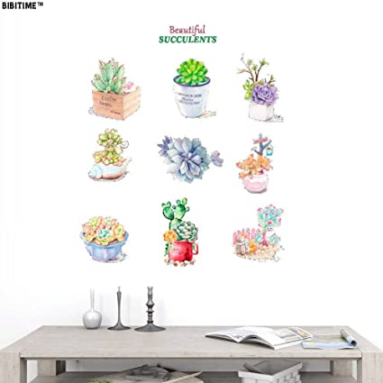 8e62b5683 BIBITIME Beautiful SUCCULENTS Plants Wall Decal Quotes Potted Flower Cactus  Vinyl Sticker Peel and Stick Wall