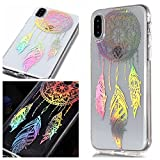 For iphone XR Case Clear Silicone Phone Cover and Screen Protector, OYIME Creative Plating Design with Bright Pattern Skin Ultra Thin Slim Soft Silicone Rubber Glitter Brilliant Transparent Protective Back Cover Anti-Scratch Drop Protection Shockproof Bumper Cases - Dream Catcher