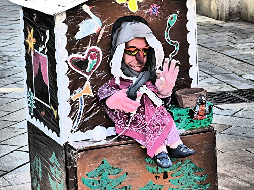 Home Comforts Canvas Print Witch's House Street Theater Puppet Show Vivid Imagery Stretched Canvas 32 x 24