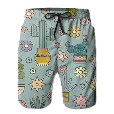 Men's Quick Dry Swim Trunks Cactus Board Shorts With Pockets