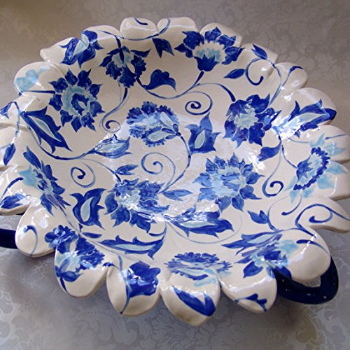 huge Blue Delft pottery Bowl with curly legs (Delft Pottery)