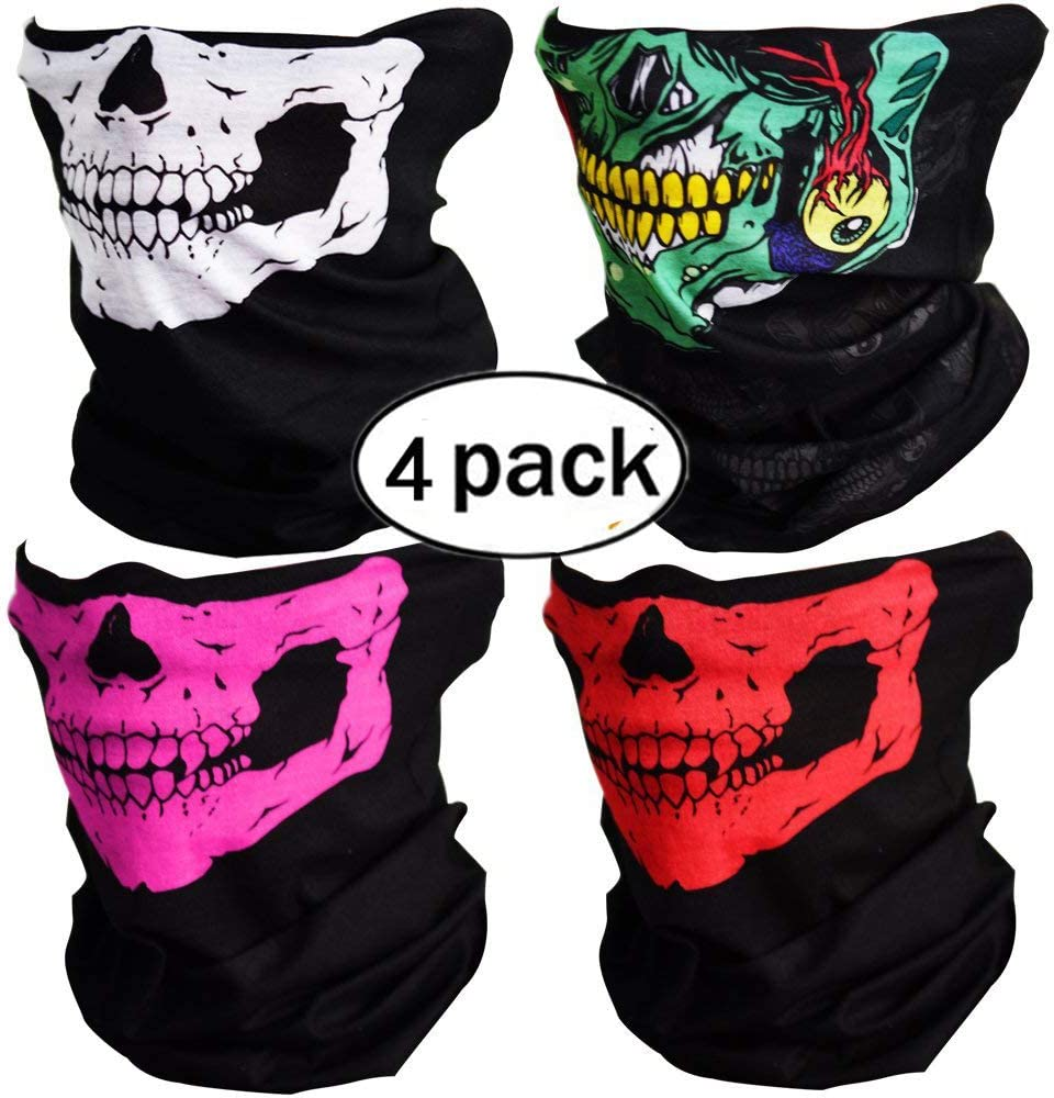 GUDEER Seamless Tube Skull Face Mask Motorcycle Bicycle Half Face Riding a mask Ski Mask,4 Piece Motorcycle Face Mask,Colorful