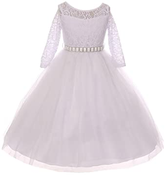 57e11f10a5ca Little Girls Dress Lace Top Rhinestones Tulle Holiday Christmas Party  Flower Girl Dress White Size 2