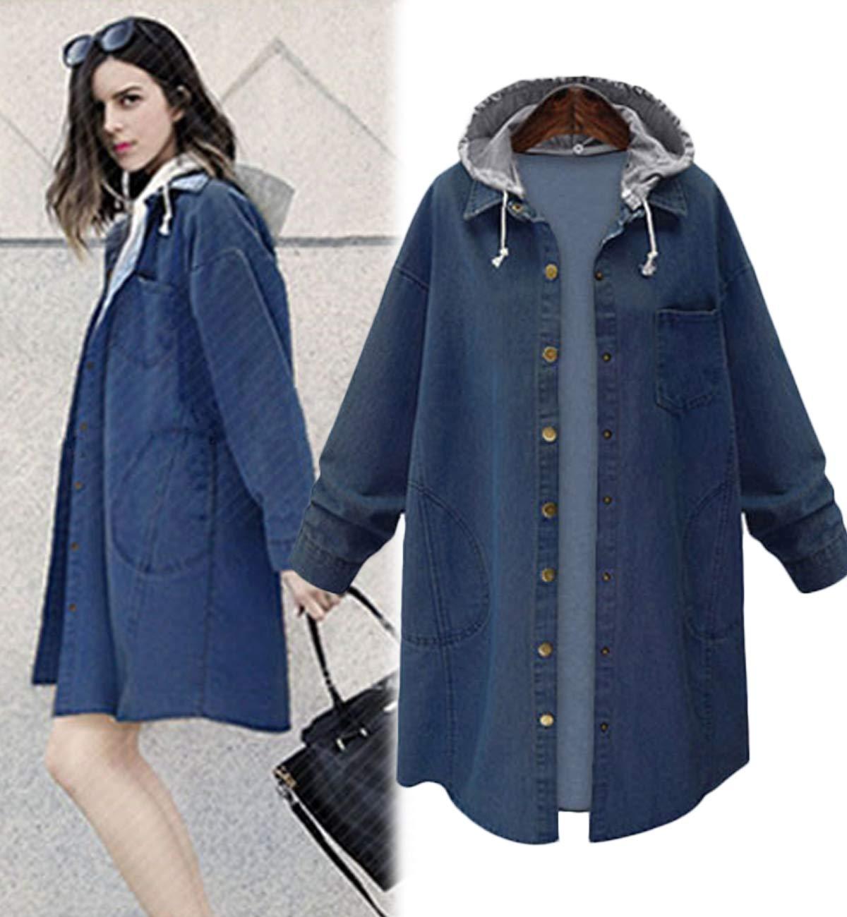 Innifer Women's Casual Long Denim Coat with Hood Long Sleeve Windbreaker Plus Size Jean Jacket Outwear