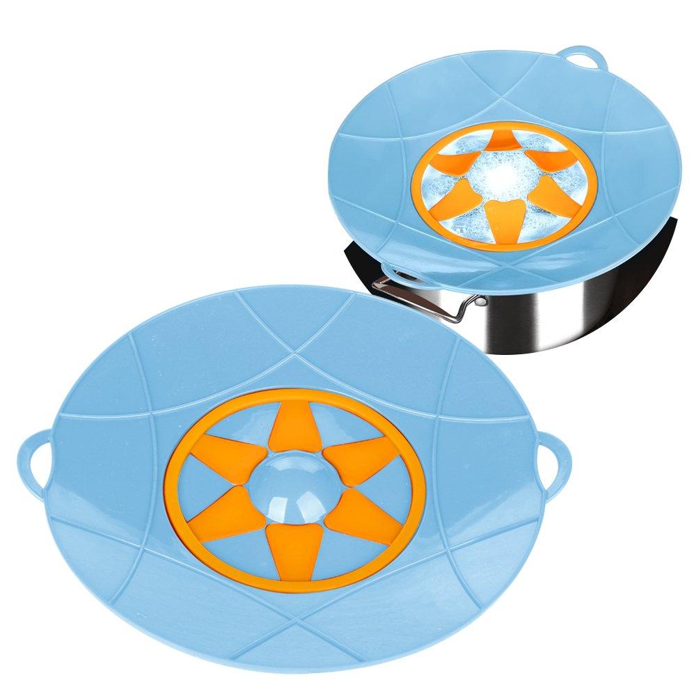 Kalrede Silicone Spill Stopper Boil Over Preventer Splatter Guard Pot Pan Lid Cover 12.6-inch diametter (Blue) ULKNN ULKNN1539