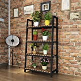 Iron Flower Rack Indoor Floor Plant Balcony Living Room Shelf 4 Layer ( Color : Black )