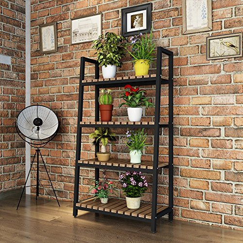 Iron Flower Rack Indoor Floor Plant Balcony Living Room Shelf 4 Layer ( Color : Black ) by LITINGMEI Flower rack