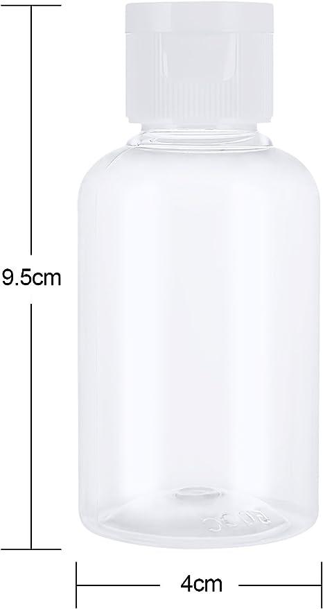 Ensemble de Bouteilles de Voyage A/érien en Plastique Transparent avec Petit Entonnoir pour Le Vol Les Vacances Paquet de 6, 100 ML lA/éroport