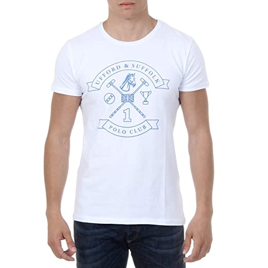 077ccbb8 White M Ufford & Suffolk Polo Club Mens T-Shirt Short Sleeves Round Neck  US027