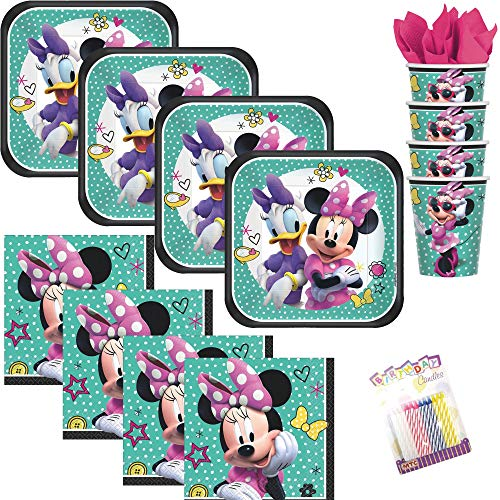 Lobyn Value Pack Minnie Mouse Happy Helpers Party Plates Napkins and Cups Serves 16 with Birthday Candles - Minnie Mouse Party Supplies (Bundle for 16) ()