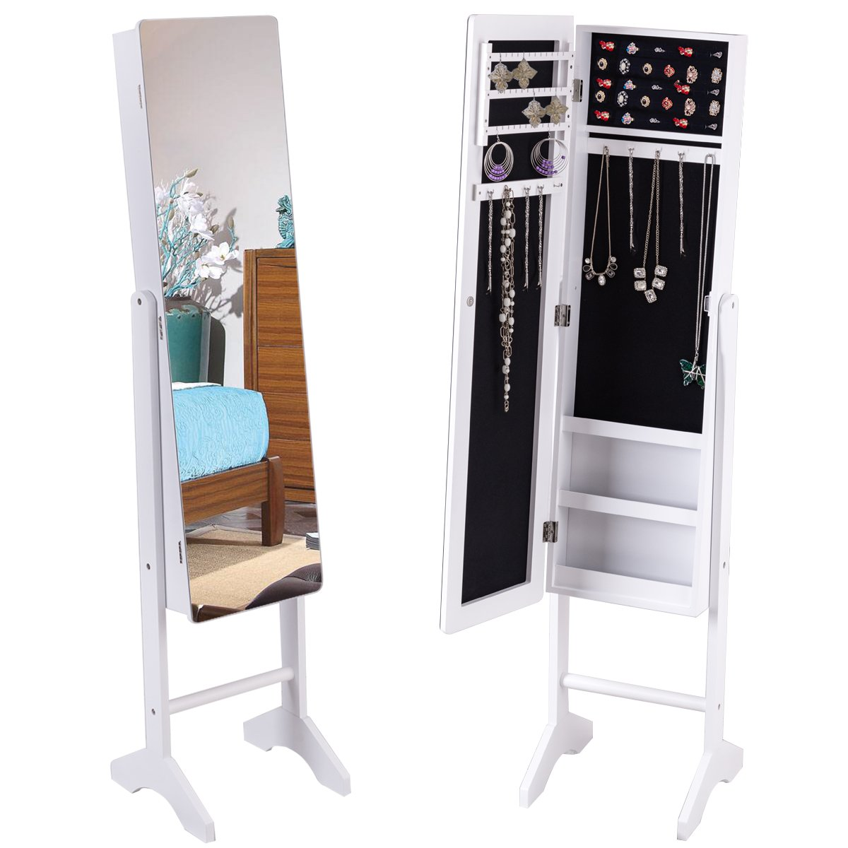 Giantex Free Standing Mirrored Jewelry Cabinet Armoire Lockable Storage Organizer Mirror Rings with Light White HW56228